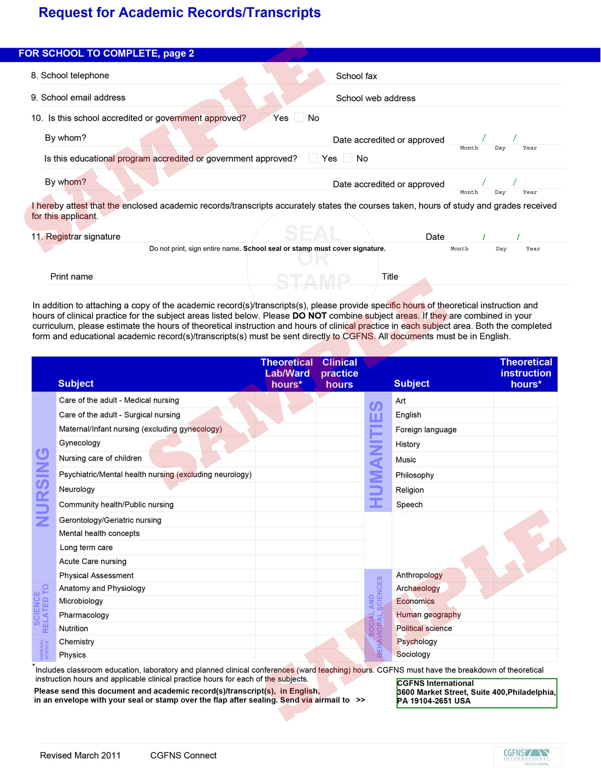 Request For Academic Records Or Transcripts Page 2 Cgfns
